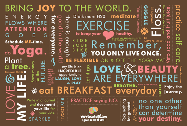 "desk top wallpaper which is a series of mantras, ""Beauty is everywhere,"